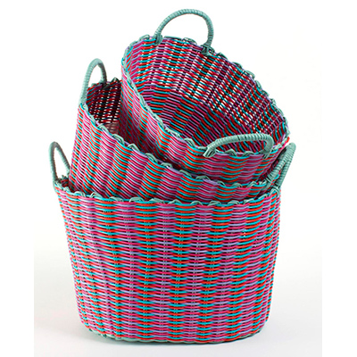 Attrayant 3 UTILITY/STORAGE BASKETS PINK U0026 AQUA